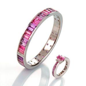 Armreif in Gold mit Amethyst- und Turmalinbaguettes, Ring in Gold mit Pink Safir und Diamantbaguettes