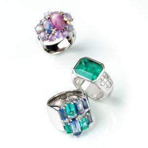 Ringe  Weißgoldring mit Safir 5,7ct, Smaragd 2,03ct und Diamantbaguettes 0,8ct  Weißgoldring mit Sternsafiren, Sternrubinen und Brillanten 0,29ct  Platinring mit Smaragd 7,15ct und 1,5ct Princessdiamanten (invisible gefaßt)